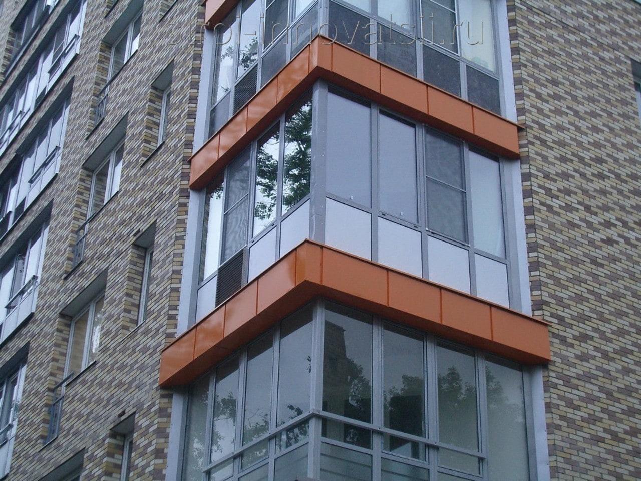 Остекление балконов фасад.