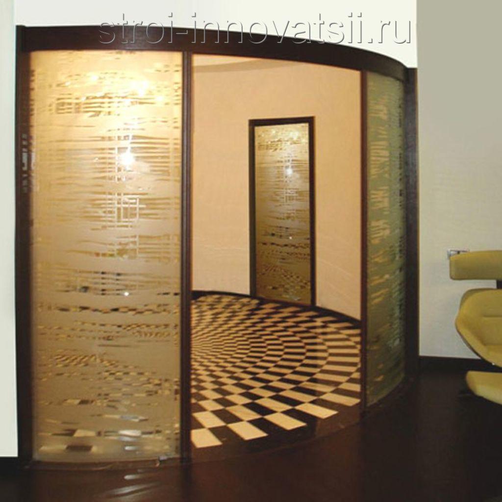 Радиусные алюминиевые двери.