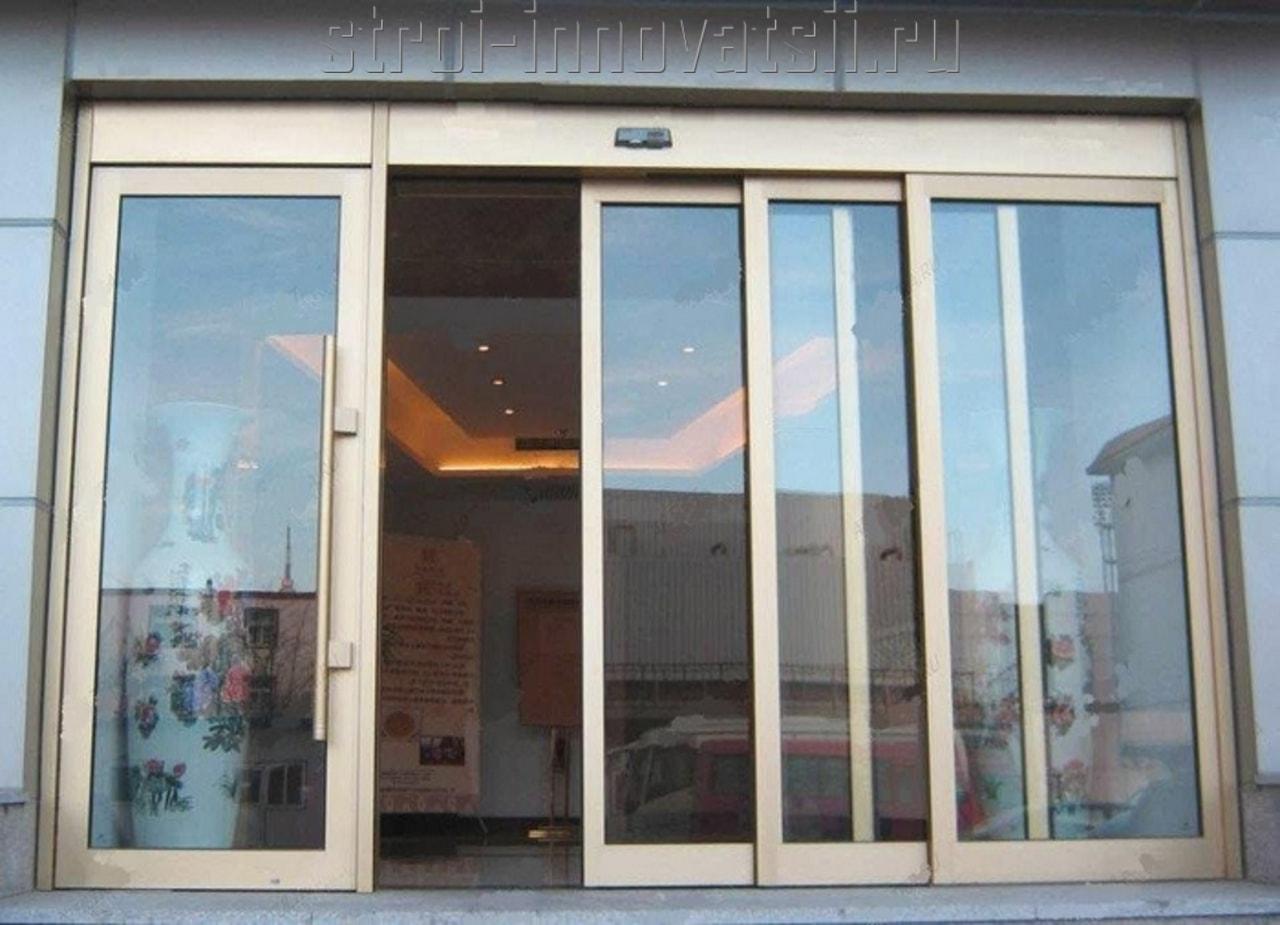 Автоматические стеклянные двери гласстрой.
