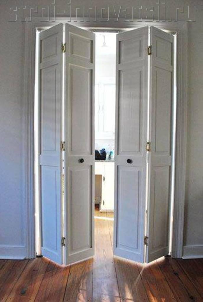 Крашенная двухстворчатая раздвижная дверь со стеклом премиум.